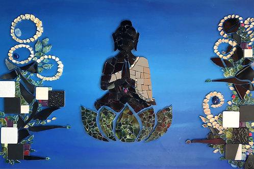 """""""MÉDITATION AQUATIQUE"""" 2020 (26,5 x 41 cm) - Acrylique & Mosaïque"""