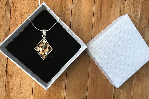 Collier argent 925 avec pendentif LOSANGE mosaïque de verre OR