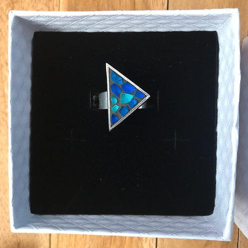 Bague TRIANGLE argent 925 - mosaïque de verre BLEU & TURQUOISE