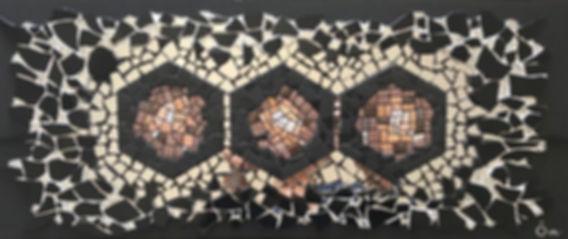 """Tableau, hexagones, géométrie, mosaïc, art,""""Number 6 - Expanding Space"""""""