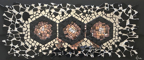 "Tableau, hexagones, géométrie, mosaïc, art,""Number 6 - Expanding Space"""