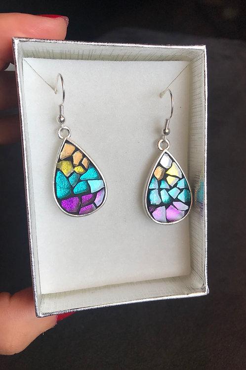 Boucles d'oreilles STELLA & mosaïque de verre