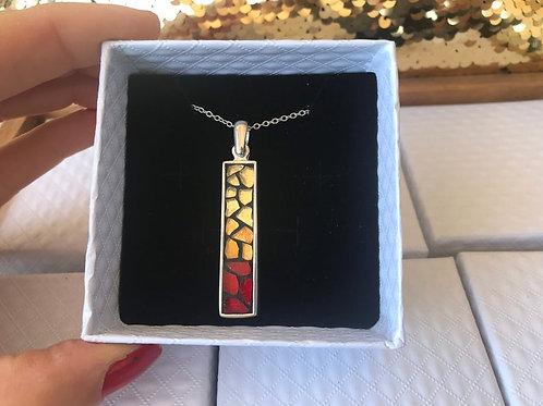 Collier pendentif RECTANGLE argent 925 & mosaïque Rouge & Or