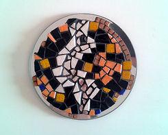 Sunlight n°1, création mosaïque, miroir rond