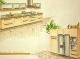 Croquis cuisine aménagée, perspective 3D, Aurélie Martignac, artiste, Toulouse