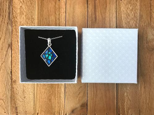 Collier argent 925 avec pendentif LOSANGE mosaïque de verre BLEU & TURQUOISE