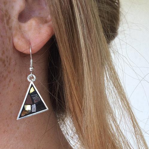 Boucles d'oreilles TRIANGLES argent plaqué 10 microns - mosaïque MARRON & DORÉE