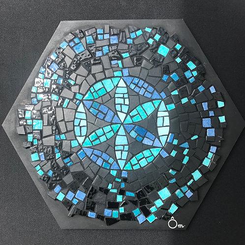 """""""MAGIC BLUE"""" Tableau mosaïque 22,5 x 25,5 cm"""