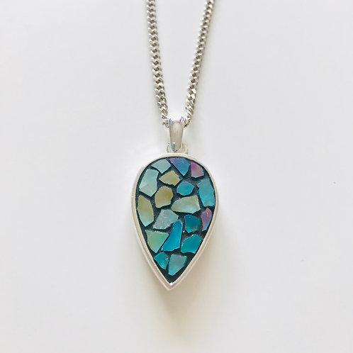 Collier NYMPHÉA argent 925 pendentif GOUTTE D'EAU mosaïque de verre irisé