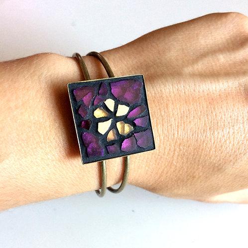 Bracelet-jonc finition bronze vieilli avec mosaïque de verre PRUNE & OR