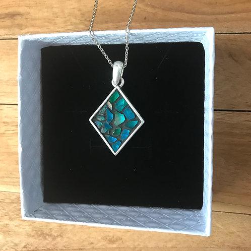 Collier NYMPHÉA argent 925 pendentif LOSANGE & mosaïque de verre