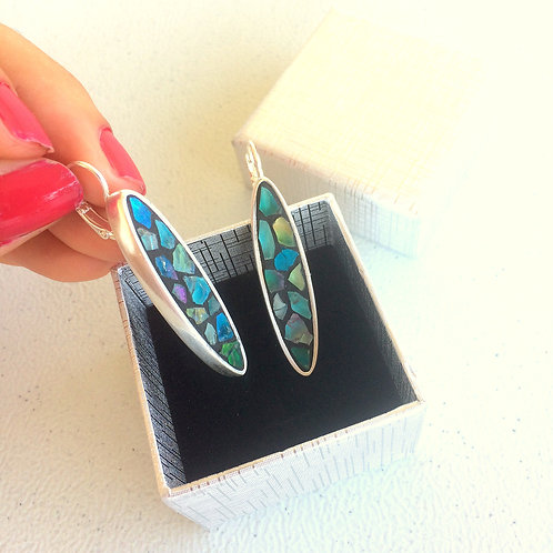 Boucles d'oreilles OVALE LONG argent 925 & mosaïque de verre irisé