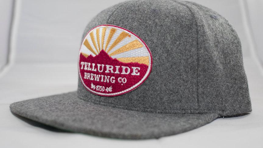 Flat Brimmed Felt Logo Hat Grey
