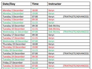 Pilates Class Timetable - December 2019