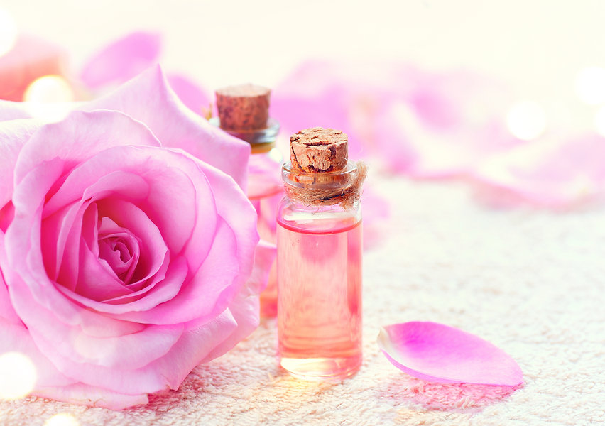 Bottles of Essential Rose Oil for Aromat