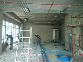 MAHALL Ankara E Blok 51 nolu Ofis şantiyesinde Sprinkler tesisatı uygulamaları tamamlandı.