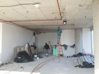 BESA Kule 11. Kat PREFI Ofisi şantiyesinde Sprinkler tesisatı uygulamaları tamamlandı.