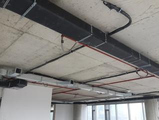 BESA Kule 7. Kat 23 nolu ofis şantiyesinde Havalandırma tesisatı ana hatlarının montajı tamamlandı.