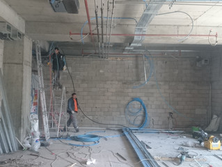 MAHALL Ankara E Blok 63 nolu Ofis şantiyesinde Sprinkler tesisatı uygulamaları tamamlandı.