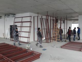 BESA Kule 12. Kat / ENERGO - PRO Ofisi duvarlarının imalatı sona erdi ve montajına başlandı.