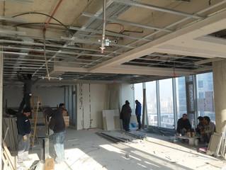 BESA Kule 11. Kat PREFI Ofisi şantiyesinde asma tavan alçıpan imalatı başladı.