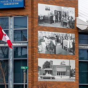 Building with three printed historic images of the building from the past.