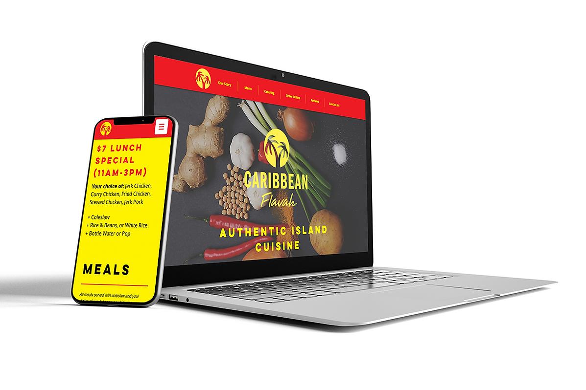 Caribbean Flavah Laptop and Mobile Websi