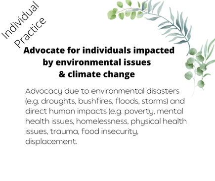 Advocate for individuals impacted by environmental issues & climate change