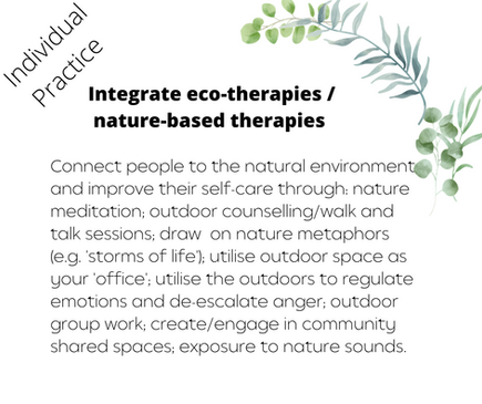 Integrate eco-therapies / nature-based therapies