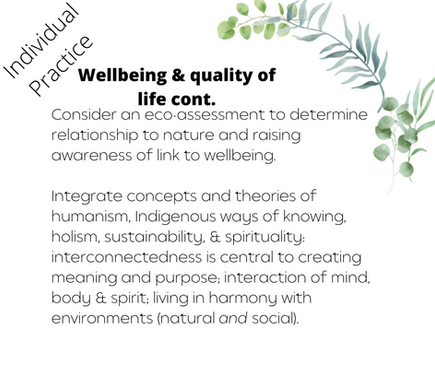 Wellbeing & quality of life cont.