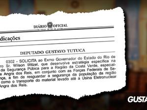 Tutuca protocola indicação legislativa cobrando segurança para Angra e Costa Verde