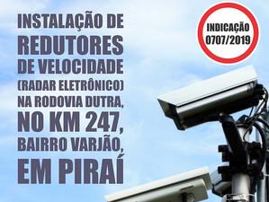 Deputado Gustavo Tutuca solicita instalação de radares de velocidade no acesso ao bairro Varjão