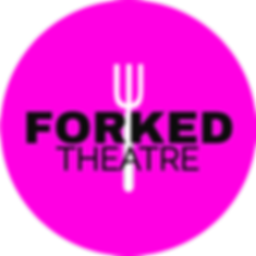 Forked Theatre's Logo - hot pink circle with a hote fork in the middle and the company name in big black thic letters.