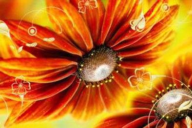 Оранжевые герберы. Фартуки с эффектом мерцания (МДФ) 610х2800х6
