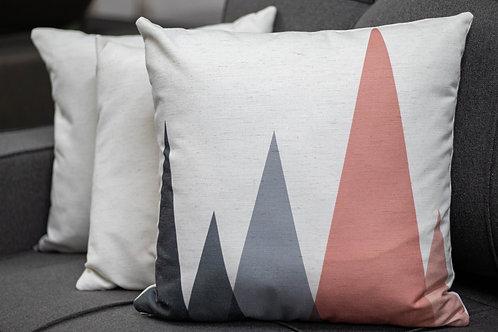 Almofada com detalhe em rosa e cinza