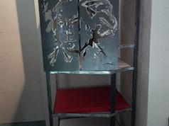 meuble etagère porte acier