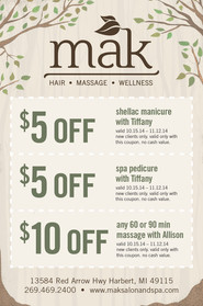 MAK Salon and Spa Coupon Magazine Ad