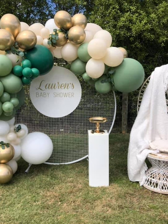 Balloon Garland, Mesh Wall, Personalised Name Disc, Plinth, Cake Stand and Peacock Chair