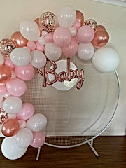 Baby Shower Balloon Garland and Mesh Wall