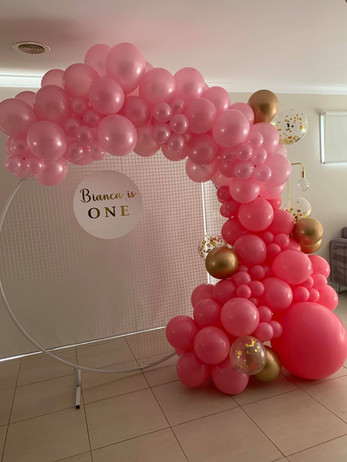 Balloon Garland, Mesh Wall and Personalised Name Disc