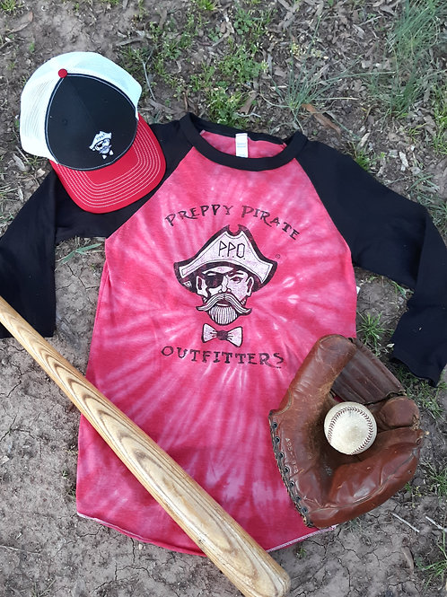 Preppy Pirate red tie-dye Baseball tee