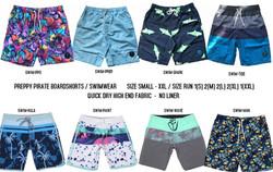 Preppy Pirate Board Shorts /Swimwear