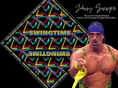 "Official Johnny Swinger ""SWINGTIME"" Preppy Pirate bandana / Face Cover"