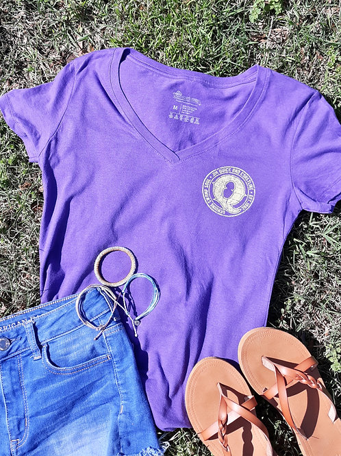Jim Quick & Coastline Purple Q logo - V neck