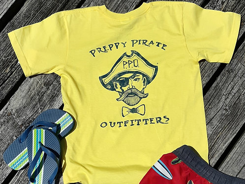 Kids Preppy Pirate Double Logo t shirt - Yellow