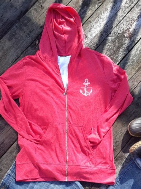 Preppy Pirate zip front tri-blend hooded shirt