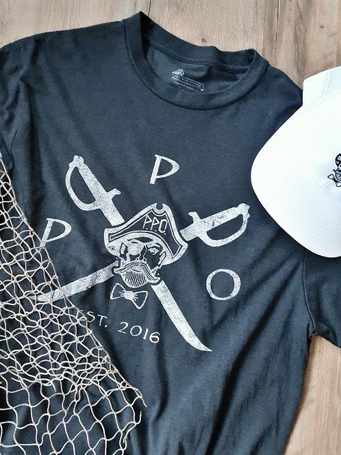 Preppy Pirate Cross Sword Logo Tee - Black