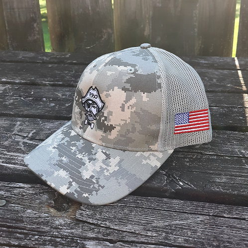 Preppy Pirate Military Inspired Digi Camo Structured snapback hat