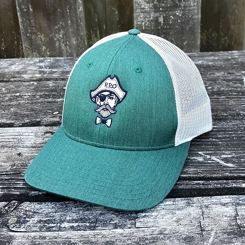 Preppy Pirate Heathered Green snapback trucker hat