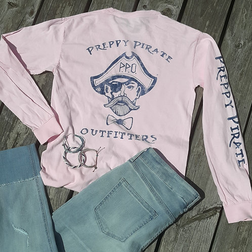 Preppy Pirate Outfitters triple logo Long sleeve t shirt - Pink